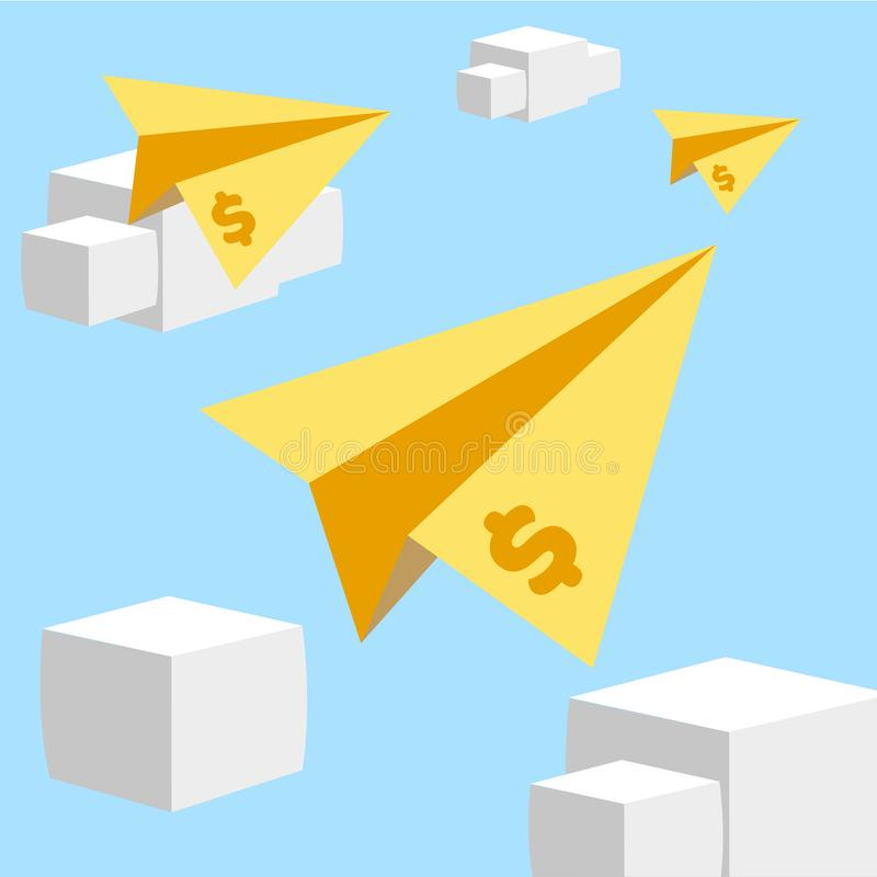 Promotion vector illustration with flying paper airplanes flat royalty free illustration