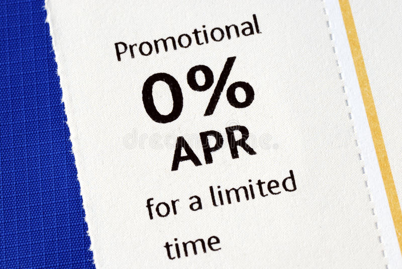 Promotional 0% APR offer. Isolated on blue stock photos