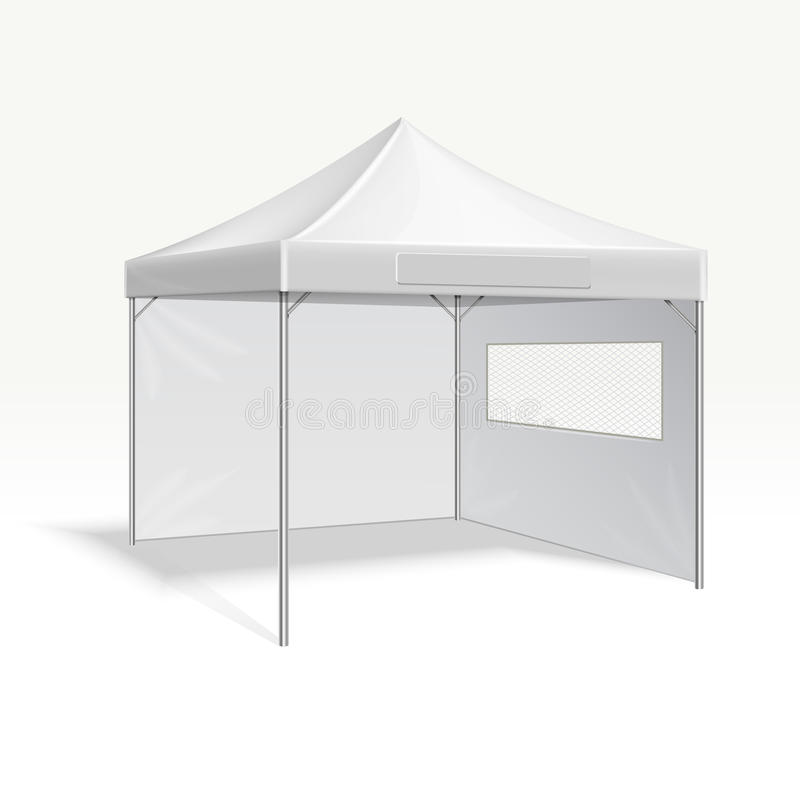 Promotional advertising folding tent vector illustration for outdoor event. Cover frame protection from sun and rain stock illustration