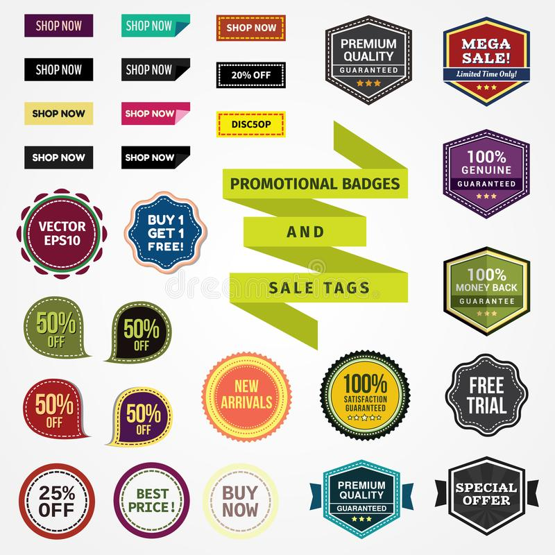 Promotional Badges and Sale Tags stock illustration