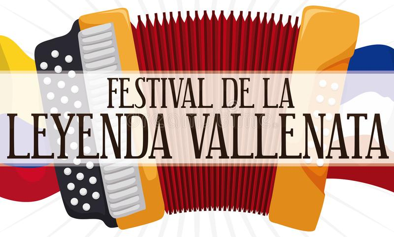 Waving Flags and Accordion Promoting the Vallenato Legend Festival, Vector Illustration. Promotional banner with accordion over Colombia and Valledupar waving stock illustration