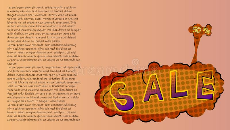 Promotional banner sale 50%, with text in the style of pop art. Vector illustration.  royalty free illustration
