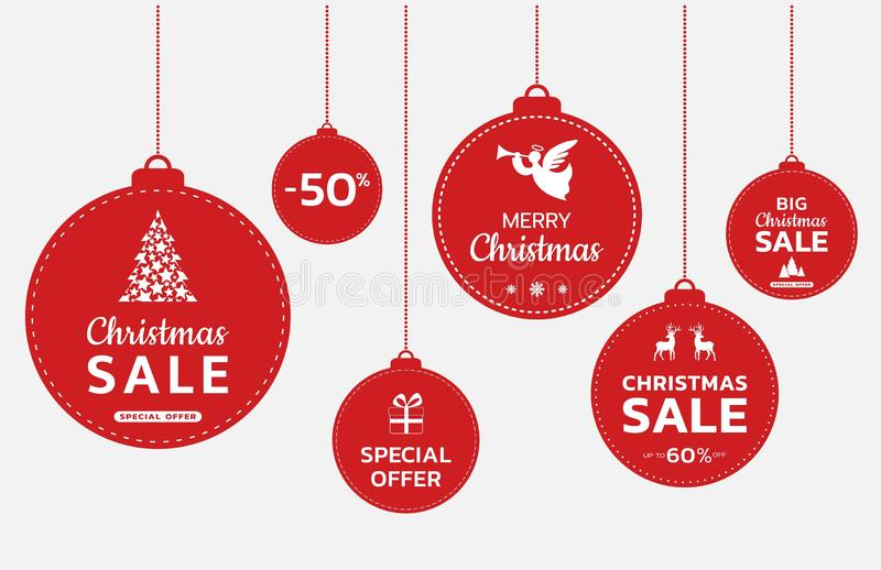 Promotional Christmas balls. Christmas and new year sale banner. Christmas promotion design vector illustration