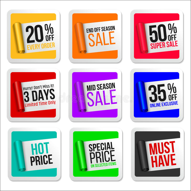 Promotional Colorful Sale Stickers Collection. Scroll Paper. Vector stock illustration