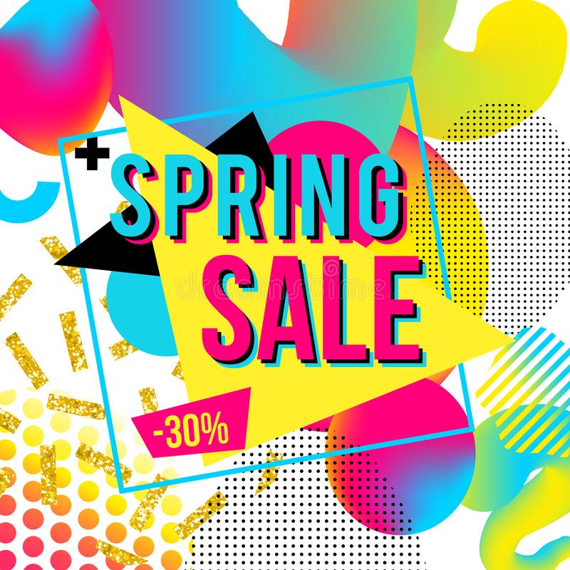 Promotional design poster with text Spring Sale on colorful imagine background vector illustration