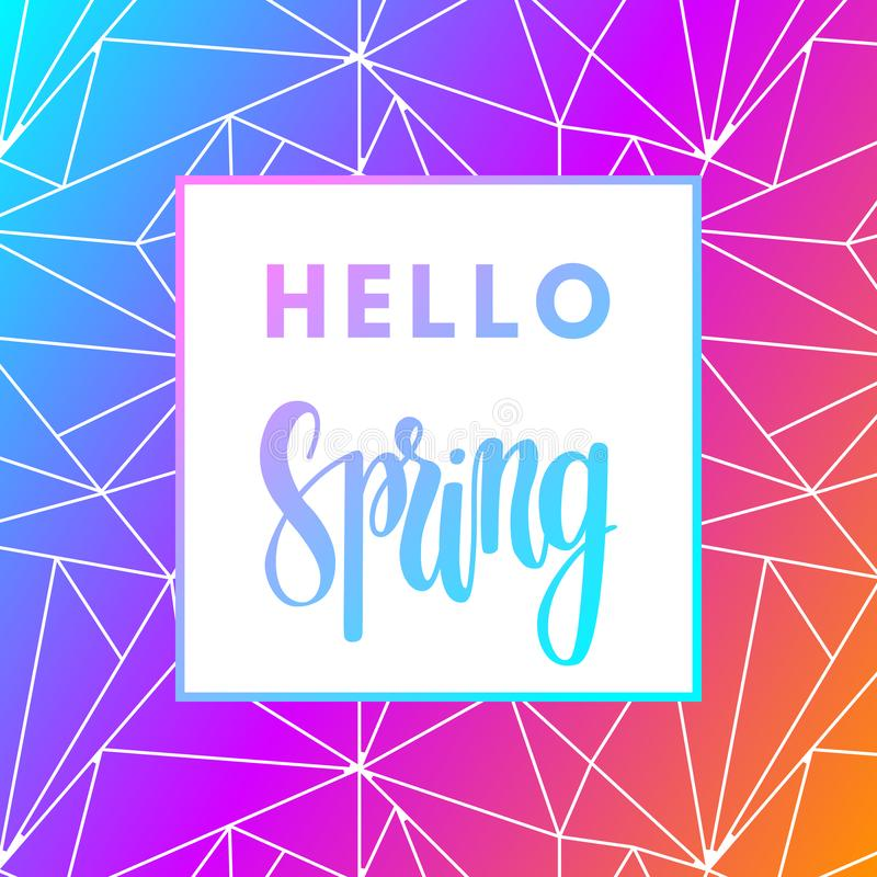 Promotional design poster with welcome text Hello Spring and colorful magic imagine gradient magic background royalty free illustration