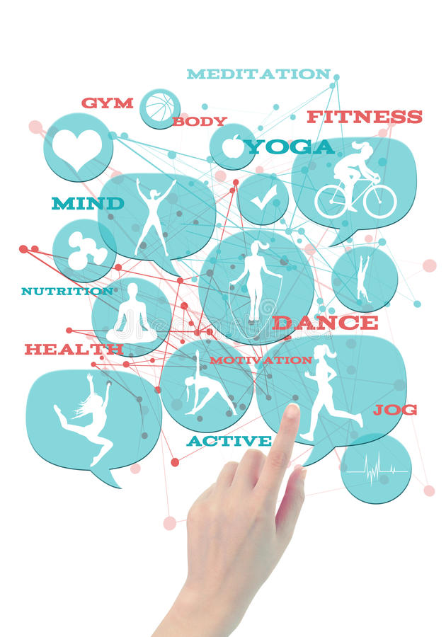 Promotional gym/fitness/athletic business icons. Light blue transparent beveled floating bubbles/buttons, with fitness icons, hand pointing on one of them royalty free stock photo