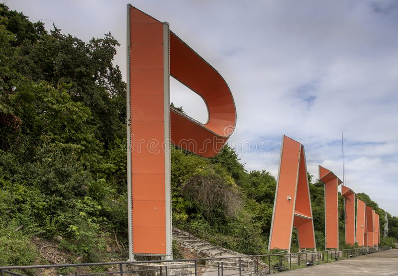 Promotional letters `PATTAYA` on a hilltop in Pattaya.Thailand - September 07, 2019.  stock photography