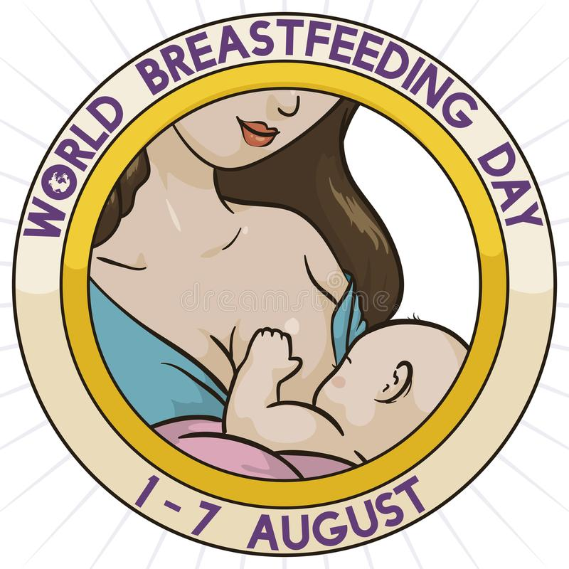 Breastfeeding Scene inside Rounded Button for World Breastfeeding Week, Vector Illustration. Promotional pin for World Breastfeeding Week with pretty mom vector illustration