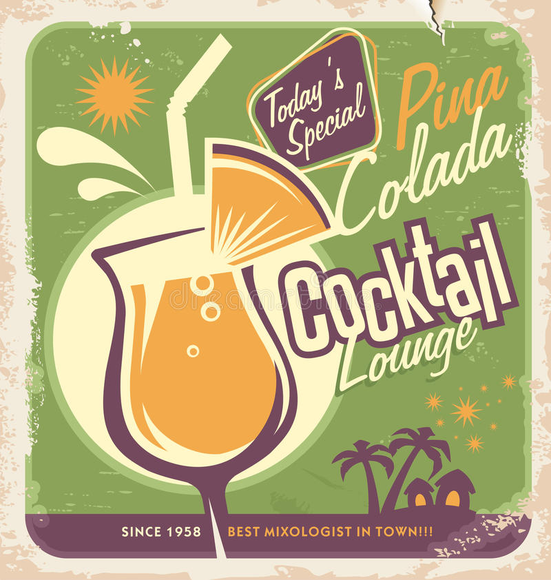 Promotional retro poster design for one of the most popular cocktails Pina Colada. Vintage cocktail bar design with special daily offer. Food and drink concept vector illustration