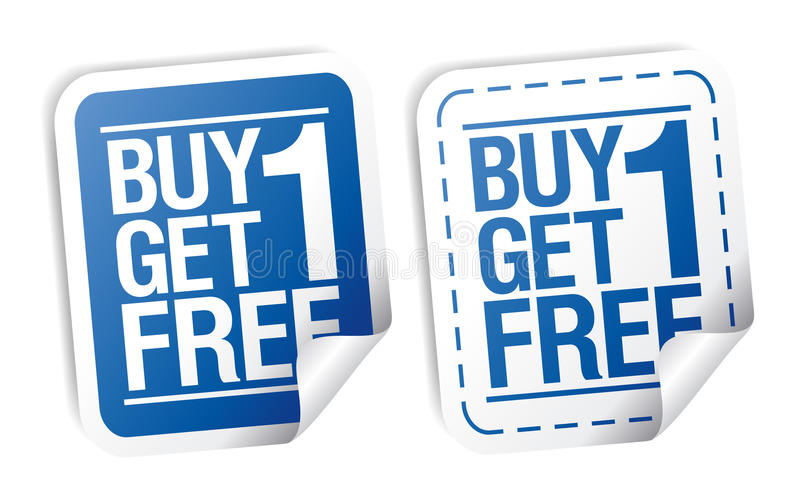 Promotional sale stickers. Buy one get one free, promotional sale stickers set