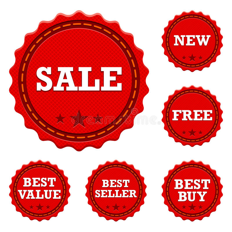 Promotional Sale Stickers. A set of six sale stickers for different promotions vector illustration