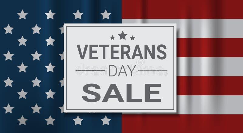 Promotions d'achats de célébration de vente de jour de vétérans et bannière américaine nationale de vacances de remise des prix illustration stock