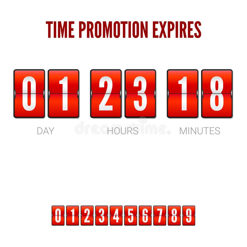 Promotions expires, analog flip clock timer. Template of flip countdown timer, clock counter. Red countdown clock vector illustration