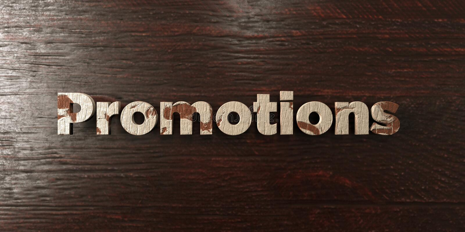 Promotions - grungy wooden headline on Maple - 3D rendered royalty free stock image. This image can be used for an online website banner ad or a print postcard vector illustration