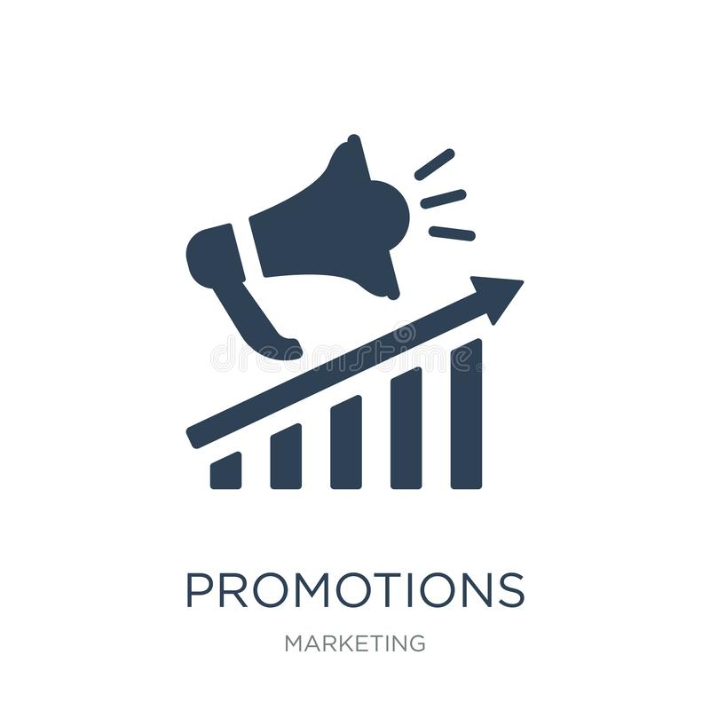 promotions icon in trendy design style. promotions icon isolated on white background. promotions vector icon simple and modern royalty free illustration