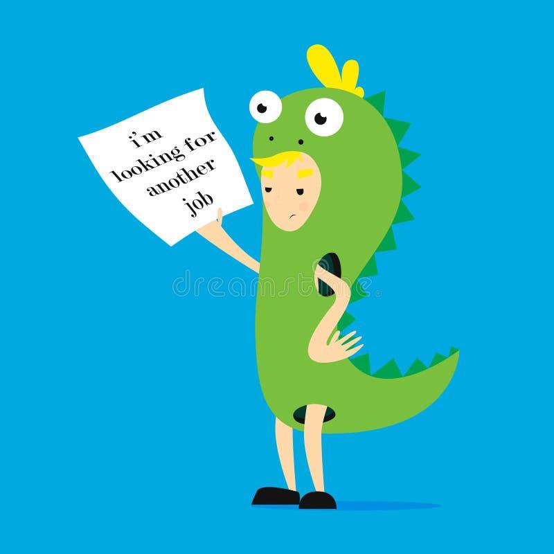 Promotor no traje do dinossauro ilustração lisa dos desenhos animados, im procurando outra trabalho ilustração royalty free