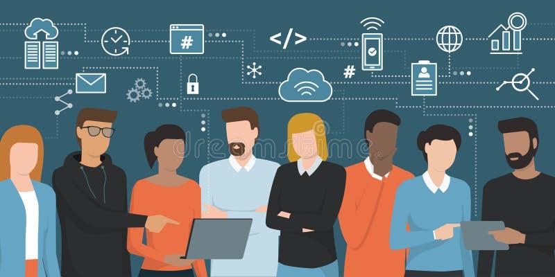 Promotores y profesionales de las TIC que trabajan junto ilustración del vector