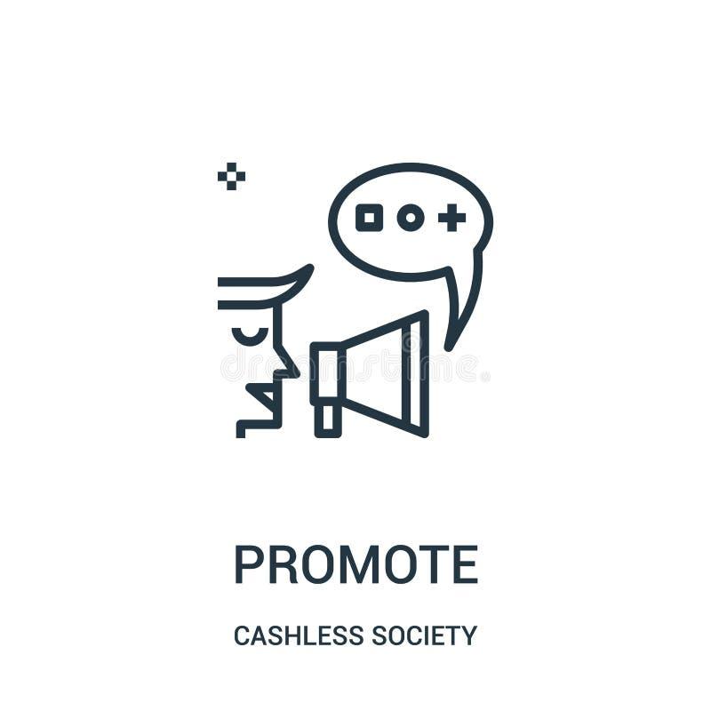 promova o vetor do ícone da coleção cashless da sociedade A linha fina promove a ilustração do vetor do ícone do esboço ilustração stock