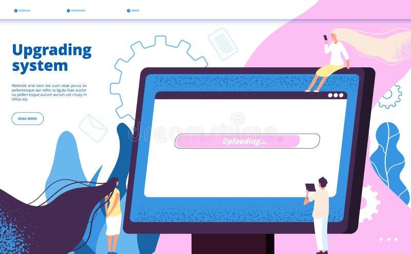 Promovendo o sistema Página da aterrissagem do vetor da manutenção do PC do software do portátil do computador da atualização do  ilustração royalty free