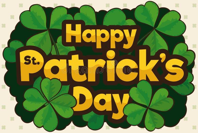 Promover diseño con los tréboles para la celebración del día del ` s de St Patrick, ejemplo del vector stock de ilustración
