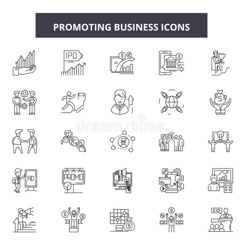 Promover la línea de negocio iconos, muestras, sistema del vector, concepto del ejemplo del esquema ilustración del vector