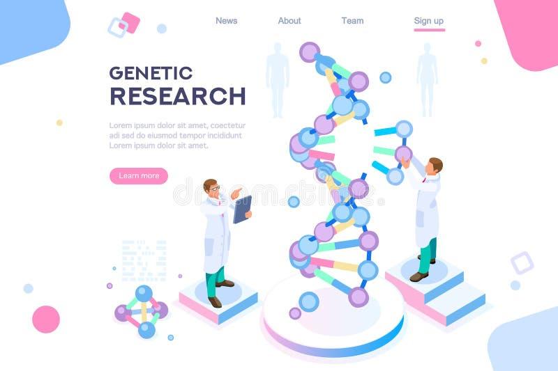 Promozione dell'insegna del genoma di ricerca genetica illustrazione di stock