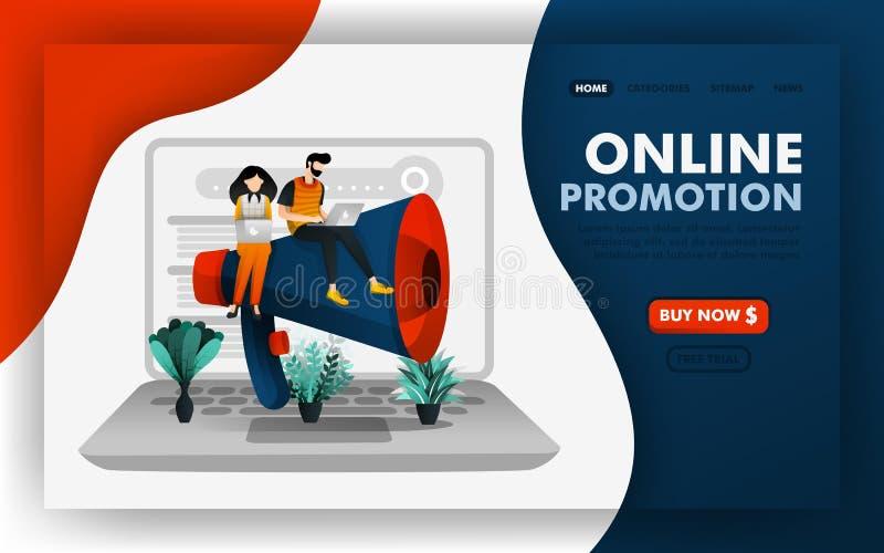 Promozione di SEO o concetto commercializzante online dell'illustrazione di vettore di promozione, la gente che si siede in megaf illustrazione di stock