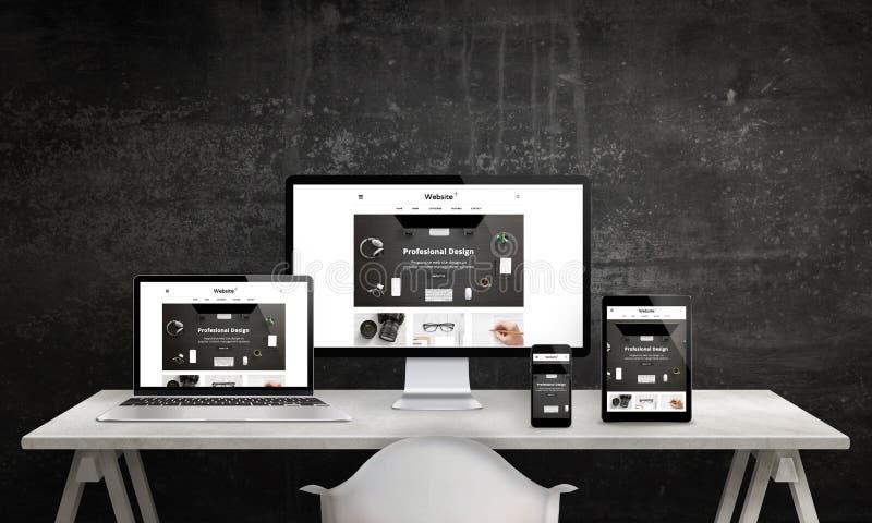 Promozione rispondente del sito Web sul visualizzatore del computer, sul computer portatile, sulla compressa e sullo Smart Phone illustrazione vettoriale