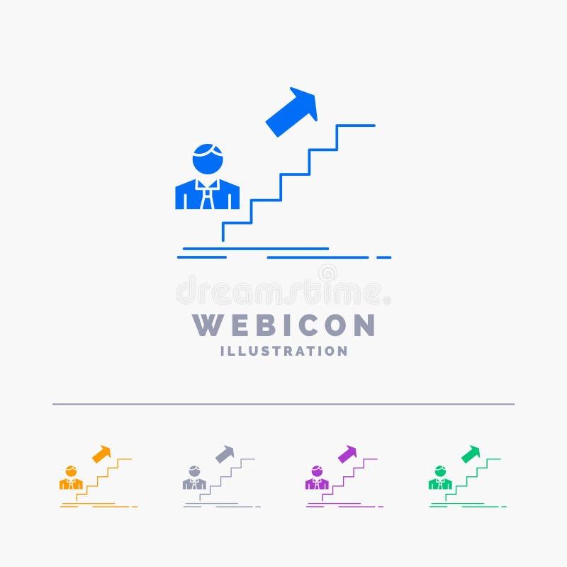 promozione, successo, sviluppo, capo, modello dell'icona di web di glifo di colore di carriera 5 isolato su bianco Illustrazione  royalty illustrazione gratis