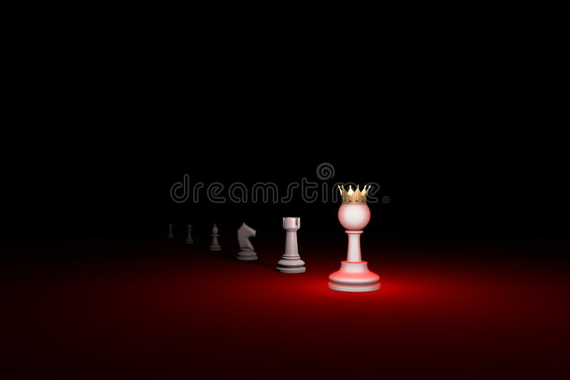 Vertical of authority. Career growth chess metaphor. 3D render. Prompt career. Horizontal chess composition. Available in high-resolution and several sizes to stock illustration