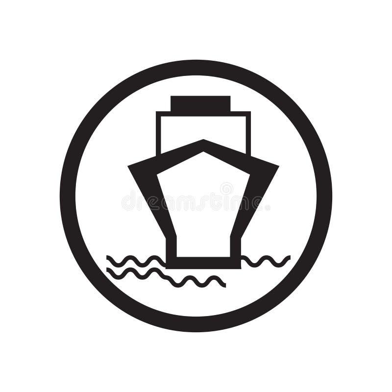 Promu przewożenia samochodów ikony wektoru znak i symbol odizolowywający na białym tle, promu przewożenia samochodów logo pojęcie royalty ilustracja