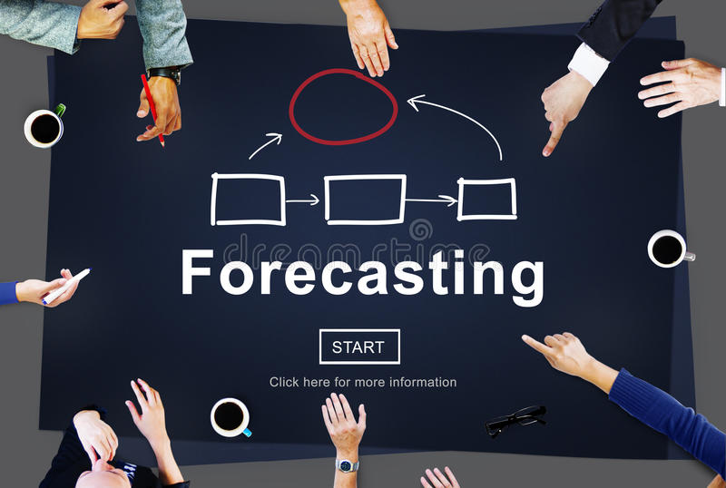 Pronóstico de concepto previsto del futuro del negocio de la valoración fotos de archivo