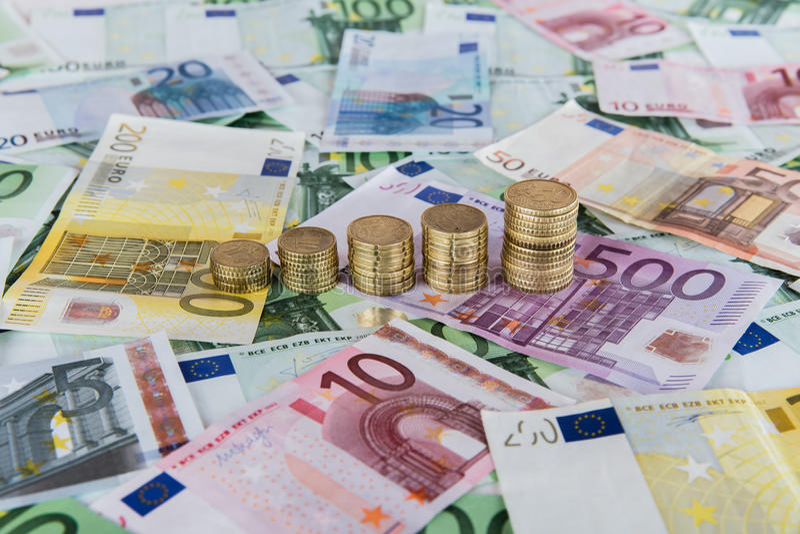 Pronósticos euro de levantamiento foto de archivo libre de regalías