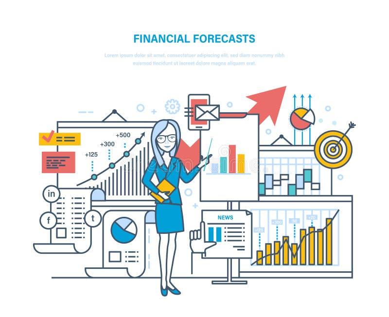 Pronósticos financieros Estrategia de marketing Planificación financiera, análisis, estudio de mercados, comercio electrónico ilustración del vector