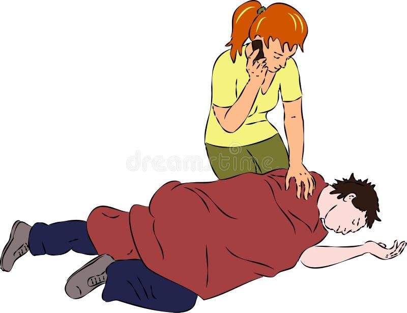 Pronto soccorso - equipaggi incosciente, cellulare di chiamata della donna per aiuto royalty illustrazione gratis