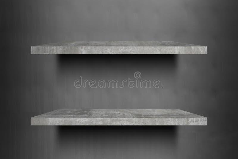 Pronto superior das prateleiras concretas vazias dobro para a montagem da exposição do produto fotos de stock royalty free