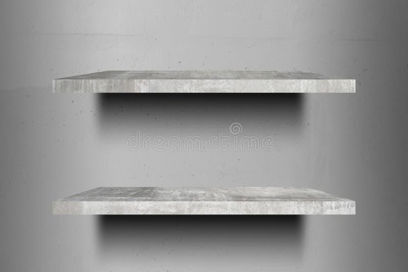 Pronto superior das prateleiras concretas vazias dobro para a montagem da exposição do produto imagens de stock