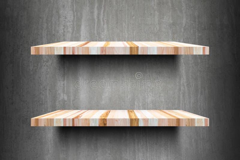Pronto superior das prateleiras de madeira vazias dobro para o montag da exposição do produto fotos de stock