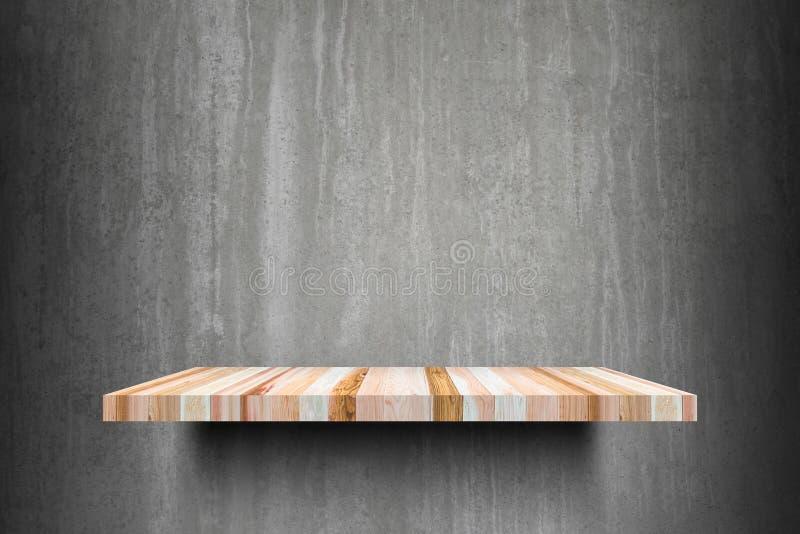 Pronto superior das prateleiras de madeira vazias dobro para o montag da exposição do produto imagens de stock