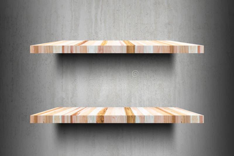 Pronto superior das prateleiras de madeira vazias dobro para o montag da exposição do produto imagem de stock royalty free