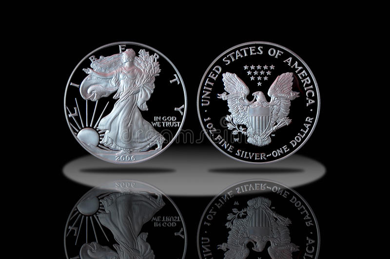 Proof American Silver Eagle Coin Stock Image Image Of