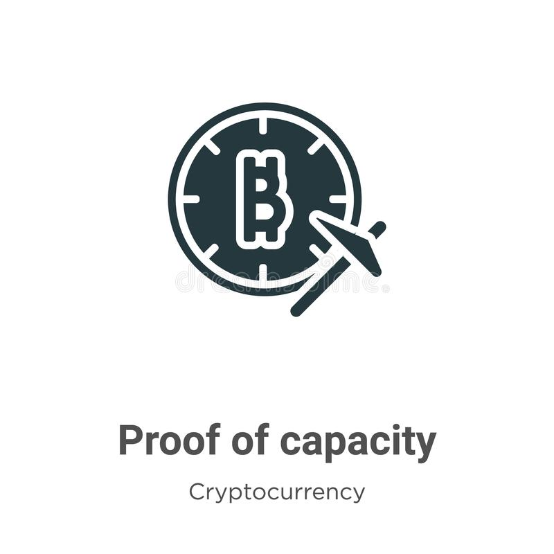 Proof of capacity vector icon on white background. Flat vector proof of capacity icon symbol sign from modern cryptocurrency stock illustration