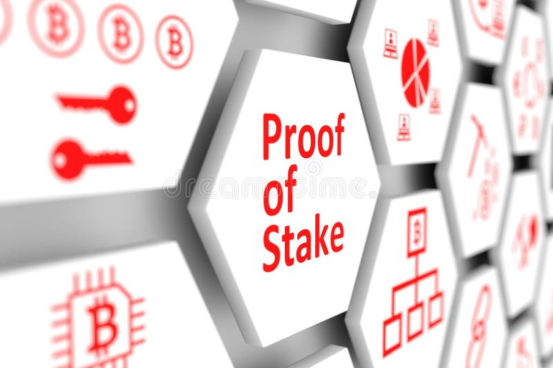 Proof of Stake concept. Cell blurred background 3d illustration stock illustration