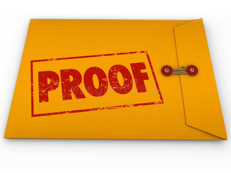 Proof Word Yellow Envelope Verification Evidence Testimony vector illustration
