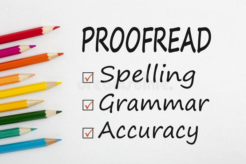 Proofread written on paper sheet royalty free stock image