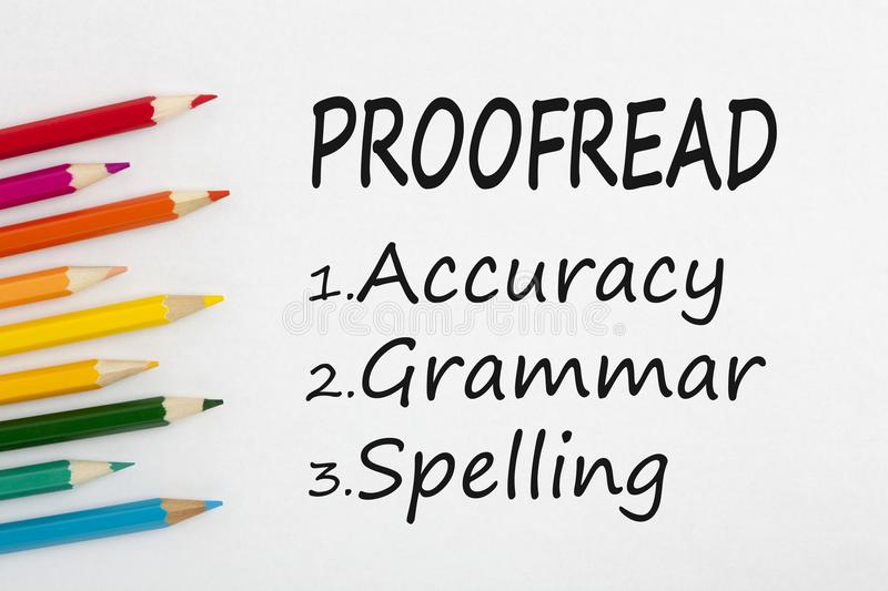 Proofread written on white background royalty free stock images