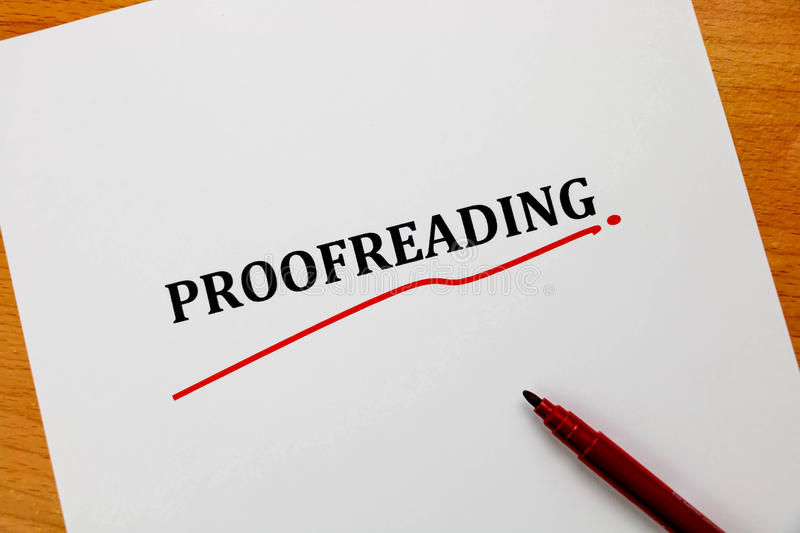 Proofreading word on white sheet with red pen vector illustration