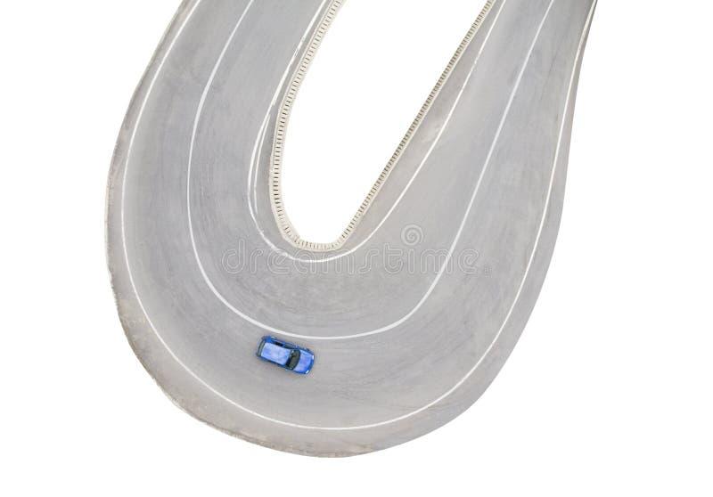 Propósito aéreo de la conducción de automóviles en el camino curvado imágenes de archivo libres de regalías