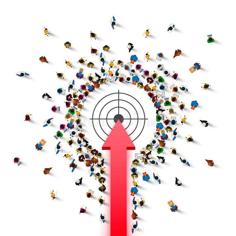 Propósito de la flecha de la muestra del grupo de la gente ilustración del vector